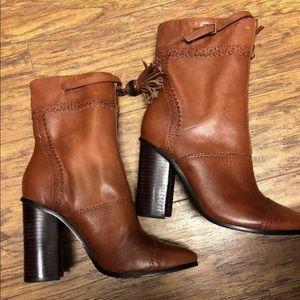 Tory Burch leather bootie Runway almond Tassel